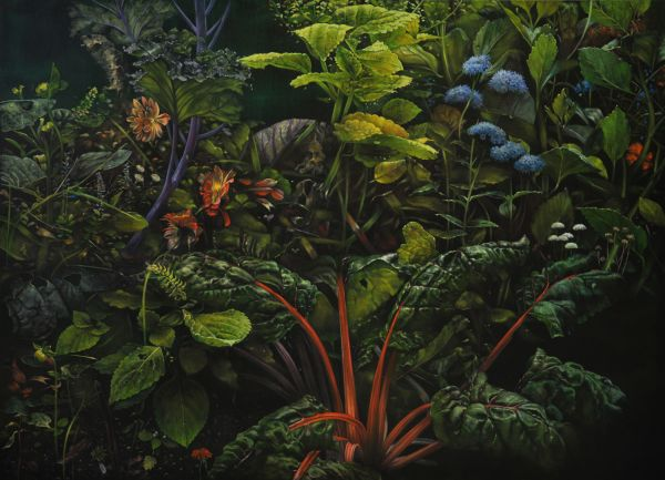 Red chard and dahlias, Oil, 220 x 160 cm