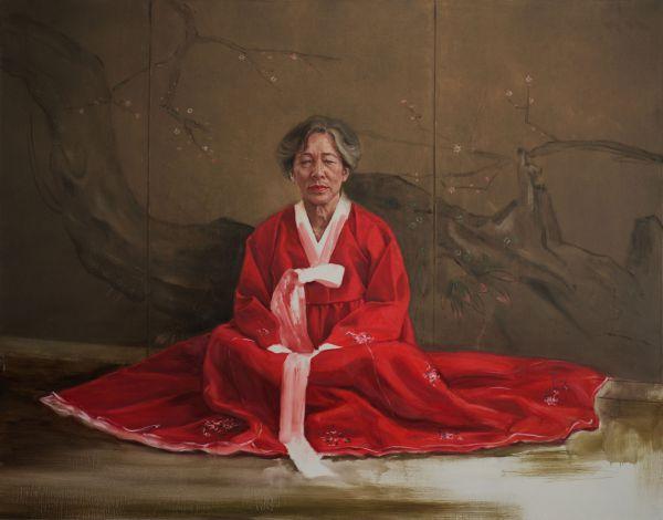 Ho-Za- Rot und Weiss, Oil, 160 x 125 cm