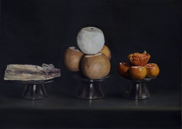 The offer– pears, tangerines, an octopus, Oil, 72 x 50 cm