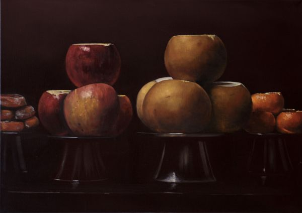 Apples, pears and tangerines, Oil, 60 x 84 cm