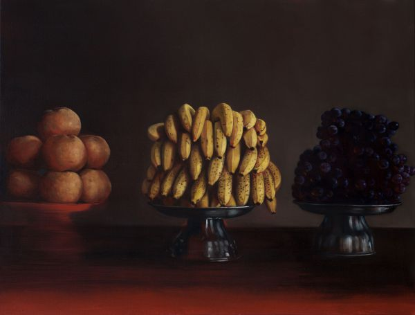 Pears, bananas and grapes, Oil, 125 x 90 cm