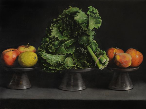 Kale and fruits, Oil, 80 x 60 cm