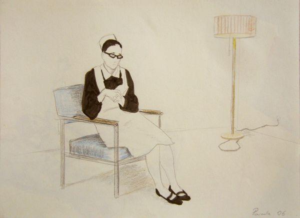 Schwester, sitzend, Colorpencil, 20 x 30 cm