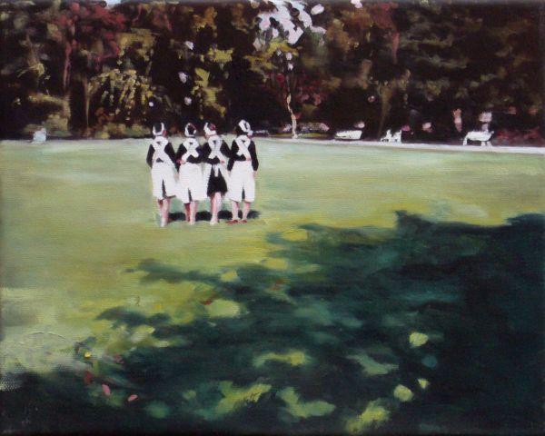 Schwestern im Park, Oil, 30 x 24 cm