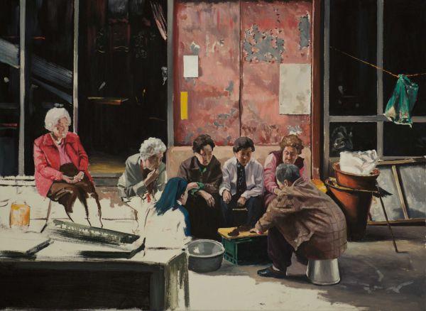 Die Frauen vom Markt in Uamdo, Oil, 82 x 60 cm