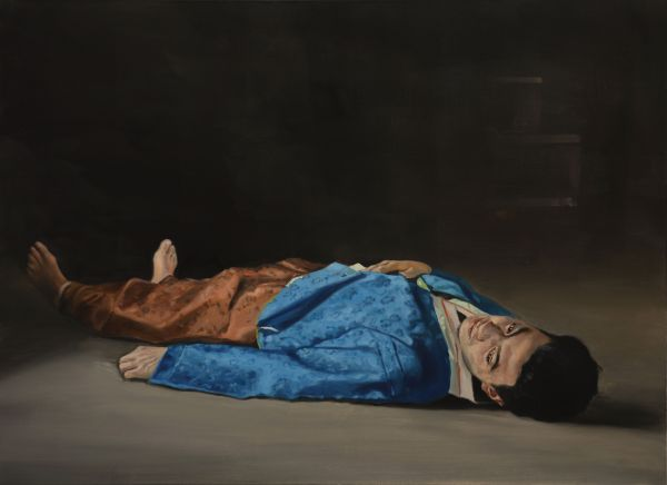 The dead man in blue, Oil, 110 x 80 cm