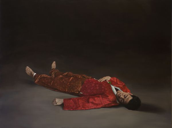 The dead man in red, Oil, 180 x 135 cm