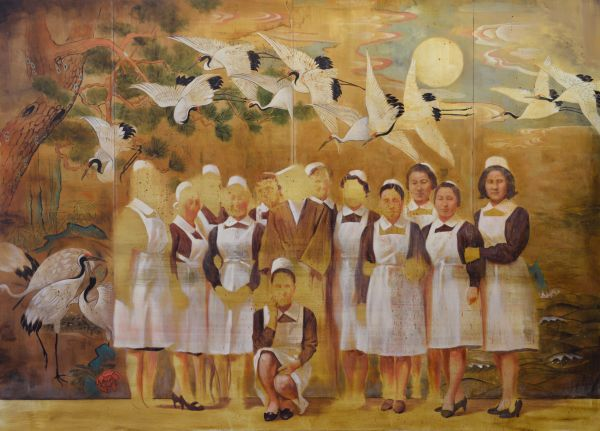 Nurses and cranes, Oil, 250 x 180 cm